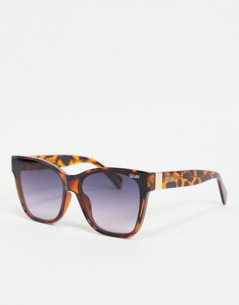 Quay Australia - After Party - Eckige Oversized-Sonnenbrille in Schildpattoptik für Damen-Braun