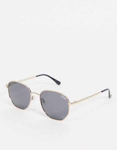 Quay Australia - Big Time - Goldfarbene Sonnenbrille mit sechseckigen Gläsern für Damen