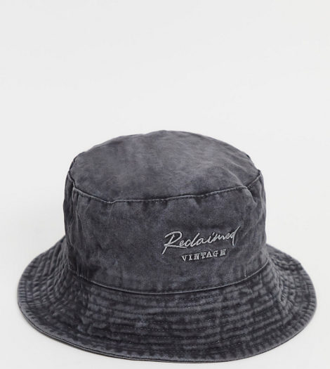Reclaimed Vintage Inspired - Anglerhut in verwaschenem Anthrazit mit Logostickerei-Grau