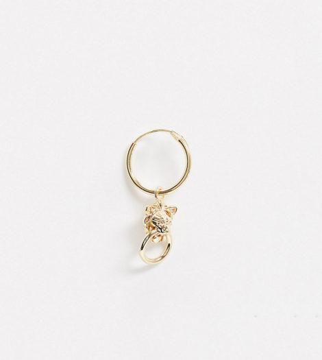 Regal Rose - Anwar - Einzelner Mini-Ohrring mit Löwenanhänger aus vergoldetem Sterlingsilber, 18 Karat