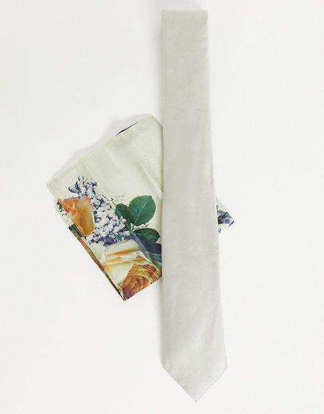 River Island - Krawattenset mit Blumenmuster in Stein-Weiß