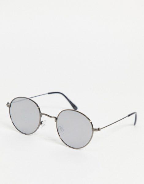 River Island - Runde Sonnenbrille in Silber