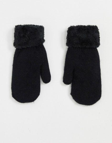 SVNX - Schwarze Handschuhe aus Teddyplüsch