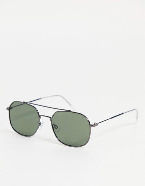 Selected Homme - Eckige Sonnenbrille mit Brauensteg in Schwarz