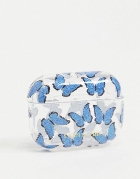 Skinnydip - Airpod-Pro-Etui in Blau mit Schmetterlingsmuster