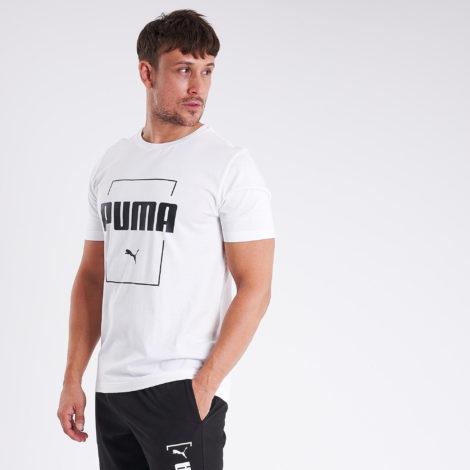 T-Shirt Fitness Baumwolle Herren weiss