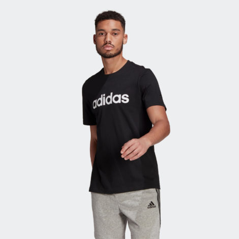 T-Shirt Fitness Linear Herren schwarz