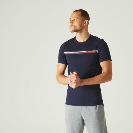 T-Shirt Slim Fitness Baumwolle dehnbar Herren blau mit Motiv