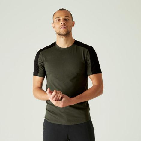 T-Shirt Slim Fitness Baumwolle dehnbar abgerundet Herren kaki
