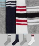 Topman - 4er-Pack Socken in Bunt mit Streifen-Mehrfarbig
