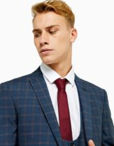 Topman - Burgunderrote Krawatte mit Textprint