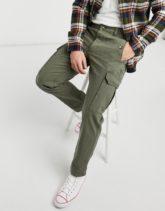 Topman - Cargo-Hose mit weitem Bein in Khaki-Grün