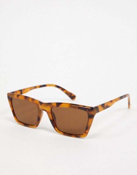 Topman - Eckige Sonnenbrille mit Schildpattoptik in Braun