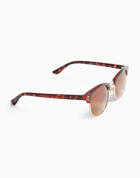 Topman - Klassische, eckige Sonnenbrille in Schildpattoptik-Braun