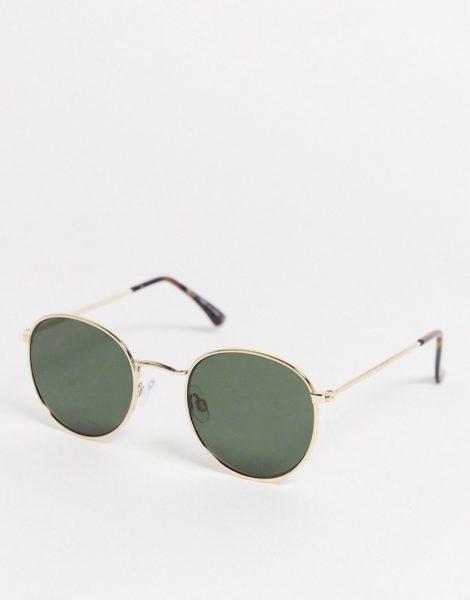 Topman - Runde Sonnenbrille aus Metall in Goldfarbton-Goldfarben