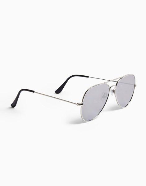 Topman - Verspiegelte Aviator-Sonnenbrille in silberfarben