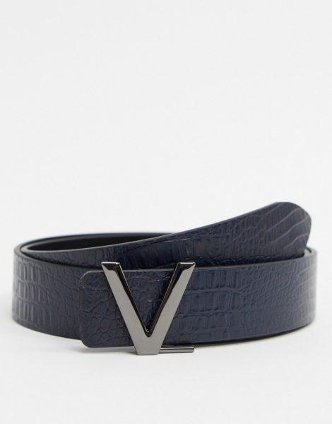 Valentino Bags - Victor - Gürtel in Marineblau mit Krokolederoptik
