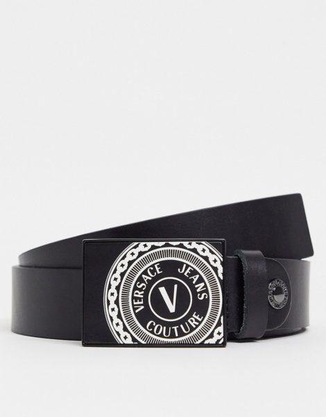 Versace Jeans Couture - Gürtel mit eckiger Schnalle in Schwarz