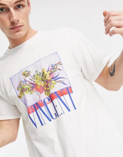 """Vintage Supply - T-Shirt in Weiß mit """"Vincent""""- und Kunstprint"""