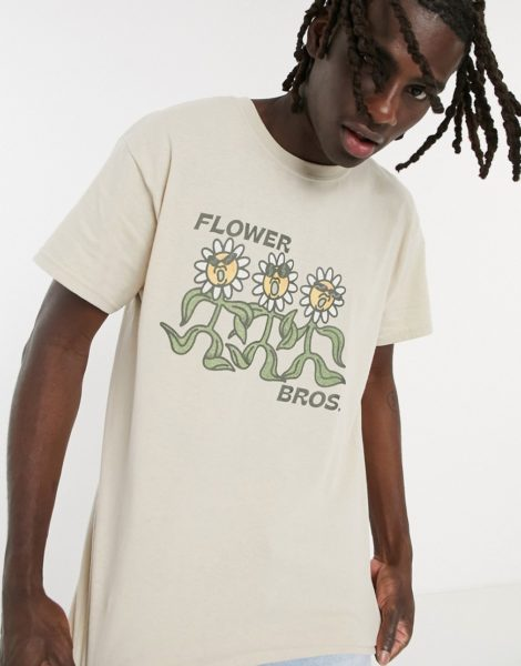 "Vintage Supply - T-Shirt mit ""Flower Bros""-Print in Sand-Neutral,Vintage Supply - T-Shirt mit ""Flower Bros""-Print in Sand-Stein"
