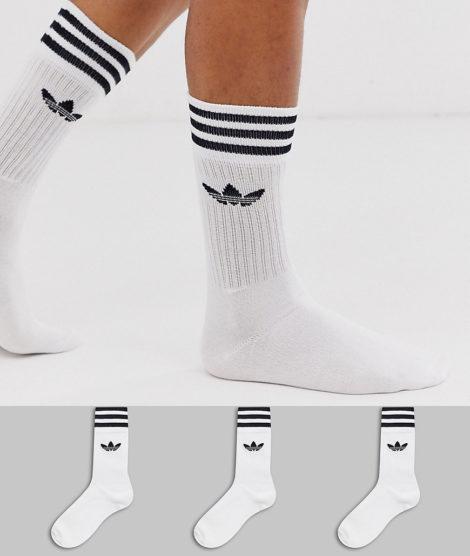 adidas Originals - adicolor - Socken mit Dreiblattlogo in Weiß im 3er-Pack