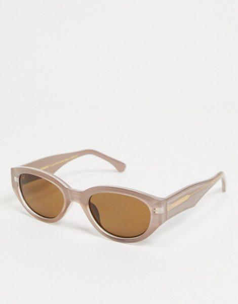 A.Kjaerbede - Winnie - Schmale, ovale Sonnenbrille in Grau für Damen