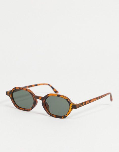 AJ Morgan - Schmale, eckige Damen-Sonnenbrille in Schildpatt-Optik-Braun