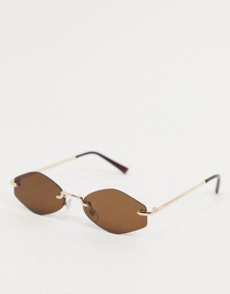 AJ Morgan - Schmale, sechseckige Sonnenbrille in Gold und Braun