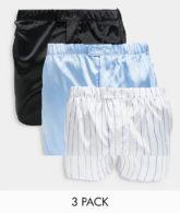 ASOS DESIGN - 3er-Pack Boxershorts aus Satin mit Knopfverschluss-Mehrfarbig