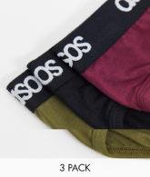 ASOS DESIGN - 3er Pack Slips in Schwarz, Bordeaux & Khaki, Rabatt-Mehrfarbig