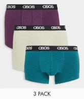 ASOS DESIGN - 3er-Pack Unterhosen in College-Farbtönen-Mehrfarbig