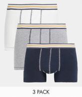 ASOS DESIGN - 3er-Set Slips in Blau, Grau & Weiß-Mehrfarbig