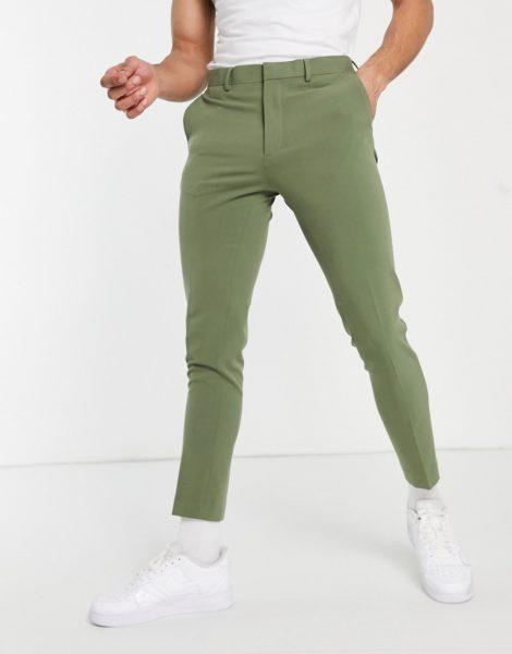 ASOS DESIGN - Besonders enge, elegante Hose in Khaki-Neutral