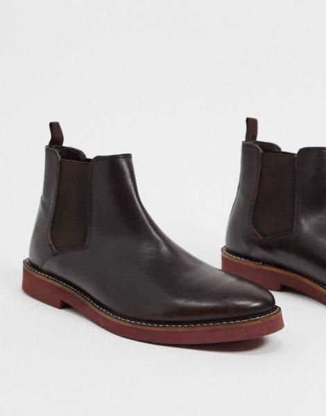 ASOS DESIGN - Chelsea-Stiefel aus braunem Leder mit Kontrastsohle