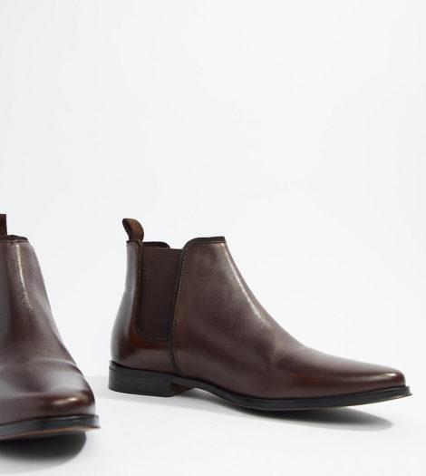 ASOS DESIGN - Chelsea-Stiefel aus braunem Leder mit brauner Sohle, weite Passform