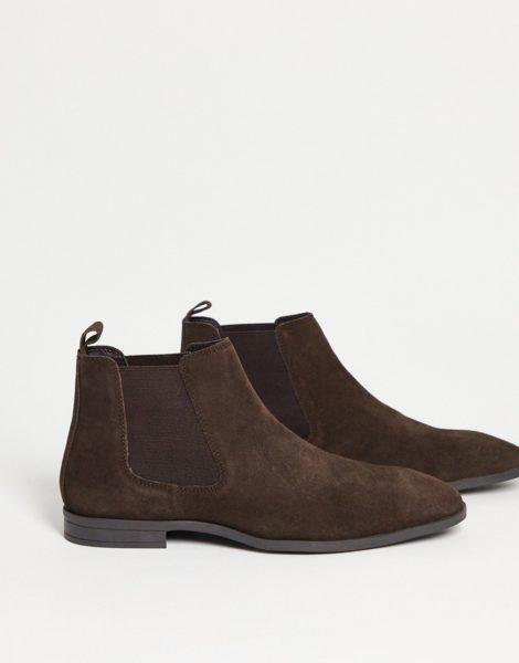 ASOS DESIGN - Chelsea-Stiefel aus braunem Wildleder mit schwarzer Sohle