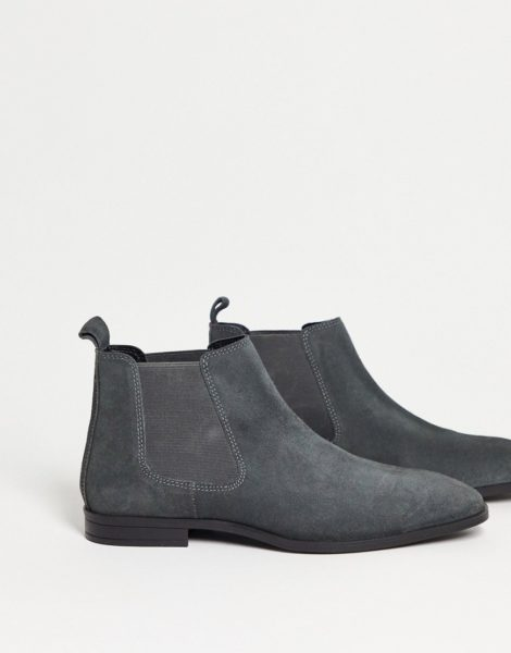 ASOS DESIGN - Chelsea-Stiefel aus grauem Wildleder mit schwarzer Sohle