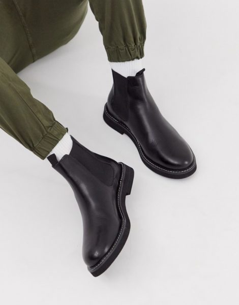 ASOS DESIGN - Chelsea-Stiefel aus schwarzem Leder mit robuster Sohle