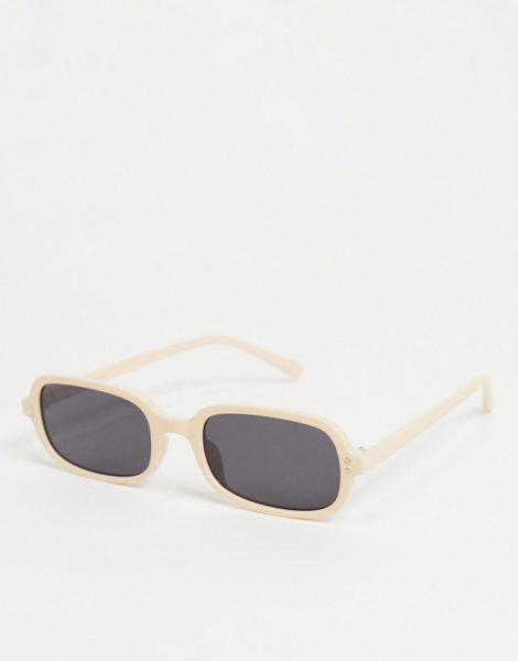 ASOS DESIGN - Eckige Sonnenbrille in Beige mit massivschwarzen Gläsern-Braun
