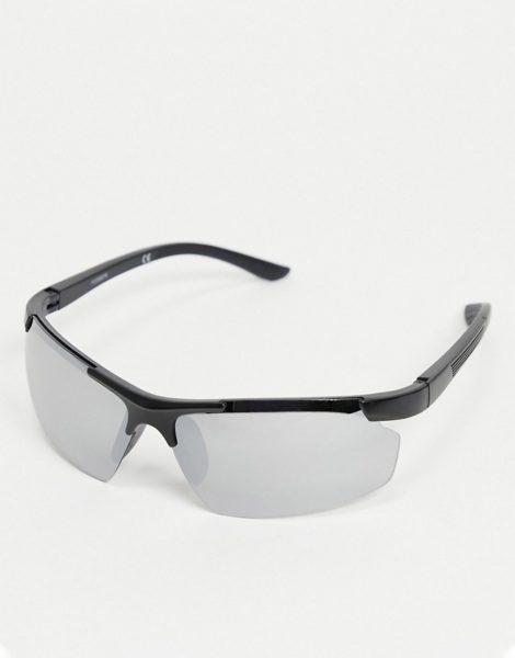 ASOS DESIGN - Eckige Sonnenbrille in Schwarz im Stil der 90er mit verspiegelten Gläsern-Silber