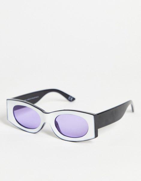 ASOS DESIGN - Eckige Sonnenbrille in Weiß mit lila Gläsern-Mehrfarbig