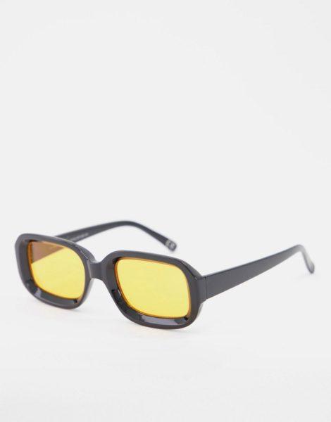 ASOS DESIGN - Eckige Sonnenbrille mit bernsteinfarbenen Gläsern-Schwarz