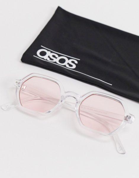 ASOS DESIGN - Eckige Sonnenbrille mit durchsichtiger Fassung und rosafarbenen Gläsern-Silber