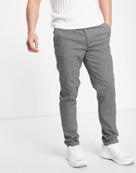 ASOS DESIGN - Elegante Hose mit sehr engem Schnitt und Mikrostruktur in Grau-Schwarz