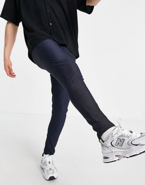 ASOS DESIGN - Elegante, schmal geschnittene Hose in Marineblau mit Punkten