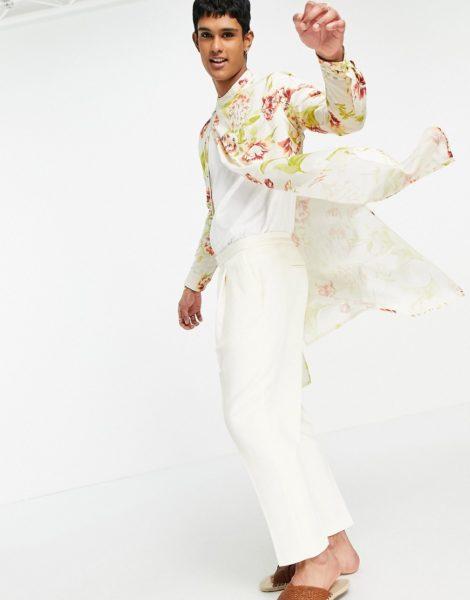 ASOS DESIGN - Eng geschnittene, elegante Hose mit tiefem Schritt in gebrochenem Weiß