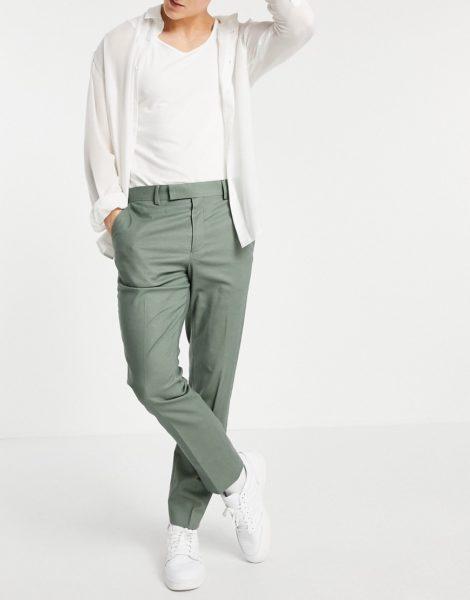 ASOS DESIGN - Enge, knöchellange, elegante Hose mit Gürtel aus grünem Leinen