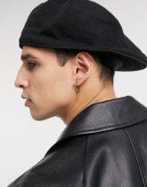 ASOS DESIGN - Flache Kappe aus Strick in Schwarz