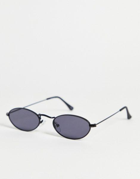 ASOS DESIGN - Kleine, ovale Sonnenbrille in Mattschwarz mit schwarzen Gläsern im 90er-Stil