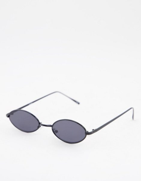ASOS DESIGN - Kleine, ovale Sonnenbrille in Schwarz mit getönten Gläsern im Stil der 90er